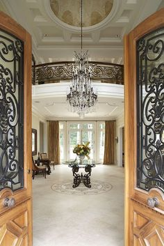 Beautiful entry, door, chandelier