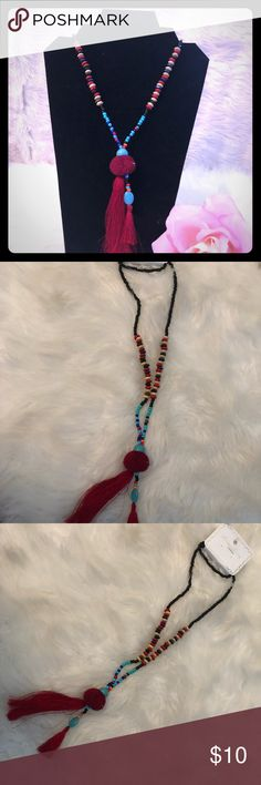 Fringe Necklace Multi-colored beaded necklace with wine colored fringe. Jewelry Necklaces