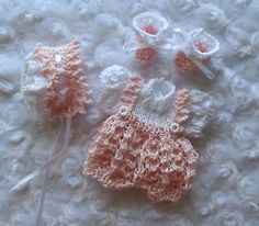 Pink and white onesie set of  clothes for 6 inch OOAK sculpt  baby doll