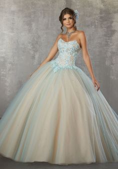 ba7f6581cec A-Line Lace Bodice Quinceanera Dress by Mori Lee Valencia 60032. Robe  BouleRobe De Bal15 Jolies RobesRobes ...
