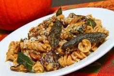 Pumpkin and Mushroom Pasta with Gorgonzola, substitute GF pasta