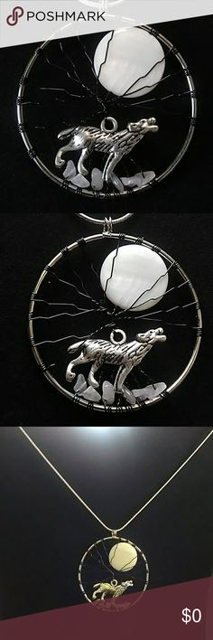 """New Handmade Wolf Howling During a Full Moon New Handmade Wolf Howling During A Full Moon under a tree .Wolf stands on Rose Quartz Natural Stones chips.Hoop ring, Floral Silver wire,Stone Chips . Silver color hoop    Wolf Charm . Wolf's Night Song.   Silver Pendant with Natural Stones Rose Quartz  Chain16"""" long silver  Pendant L2.5""""X 2.0"""" Handmade Jewelry Necklaces"""