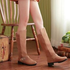 Womens Boots | Fabulous Brown Suede Buckle Round Closed Toe Flat Low Heel Boots - Hugshoes.com