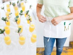 a floral workshop including white rose drink stirrers and customized aprons for each guest