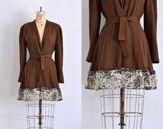 vintage 1940s coat • fur trim coat • 30s brown coat • wool crepe coat •
