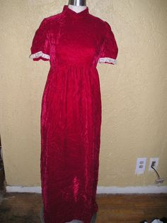 f1e64c2bfb8 Vintage 60s RED VELVET HIgh Neck MODEST MAXI DRESS Lace Trim Puff Sleeves  sz S  Handmade