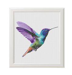 Colourful Hummingbird cross stitch pattern, Modern cross stitch, watercolor hummingbird counted cross stitch chart, watercolor bird, nature