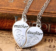 Cheap pendants for women, Buy Quality mom necklace directly from China mother daughter necklace Suppliers: FAMSHIN Silver Plated Mother Daughter Necklace Silver Heart Love Mom Necklaces & Pendants For Women Jewelry Collier Femme Love Necklace, Heart Pendant Necklace, Necklace Charm, Letter Necklace, Family Necklace, Bracelet Charms, Mother Daughter Necklace, Mom Daughter, Daughters