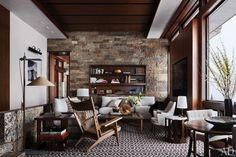 Mid-century style #interior of a modern mountain home #rustic #decor