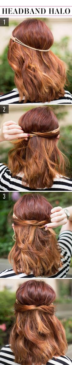 "These lazy hairstyles look so doable. You can master them in two to three steps., Lazy Hairstyles, "" These lazy hairstyles look so doable. You can master them in two to three steps. Source by Cosmopolitan. Lazy Girl Hairstyles, Super Easy Hairstyles, Step By Step Hairstyles, Chic Hairstyles, Older Women Hairstyles, Hairstyle Look, Wedding Hairstyles For Long Hair, Bride Hairstyles, Headband Hairstyles"