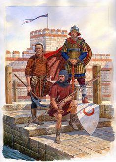Byzantine infantry: Right to left; Officer/Vargarian Guard, Bulgarian Mercenary, Peasant Levy (13th century). Osprey Publishing