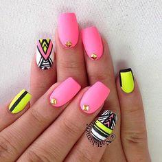 Neon Matte Tribal Nails | 23 Spring Nail Art Designs, check it out at http://makeuptutorials.com/nail-designs-spring-nail-art/