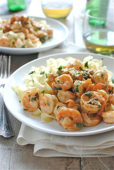Shrimp Simmered in Garlicky Beer Sauce + Keys to the Kitchen Cookbook Giveaway! / Bev Cooks
