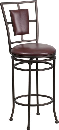 29'' Brown Metal Bar Stool with Brown Leather Swivel Seat, BS-6357-29-BN-GG by Flash Furniture | BizChair.com