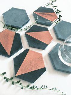 Hexagon Concrete Coaster with Gold (Set of Four)
