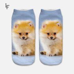 New Arrival 3D Pug Dog Print Socks Casual Harajuku Art Socks Low Cut Animal Sock Ankle Women's Sock Short Meias Feminina PUG01