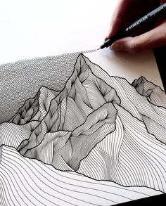 doodle art for beginners . doodle art for beginners easy drawings Art Inspo, Kunst Inspo, Art And Illustration, Mountain Illustration, Illustration Techniques, Art Illustrations, Art Design, Textile Design, Art Techniques