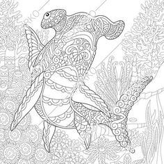 Coloring Pages For Adults Hammerhead Shark Ocean Fish Underwater Sea Animals Colouring