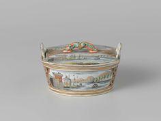 Delft doré polychrome butter tub, anonymous, 1740 - 1765
