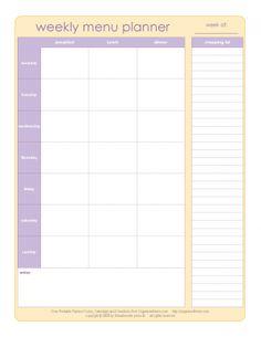 Excelente plano para cardápio semanal com lista de compras....