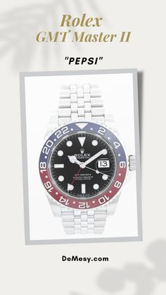 The Rolex GMT Master II is nicknamed 'Pepsi' for its blue and red bezel, which provides a quick read for day versus night. The blue region (18-6) indicates nighttime hours and the red region (6-18) indicates daytime hours. Learn more on our blog! Pre Owned Rolex, Pre Owned Watches, Rolex Models, Rolex Watches For Men, Rolex Gmt Master, Quick Reads, Pepsi, Night Time, Red And Blue