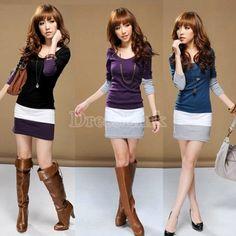 Women's Sweet Stitching Long Sleeve T-Shirt Tops Blouse Mini Dress