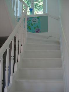 papier peint Eijffinger, bordures peinture Farrow & Ball Green blue 84 murs  All White 2005