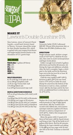Lawson's Double Sunshine IPA Recipe from our magazine/app… Brewing Recipes, Homebrew Recipes, Beer Recipes, Irish Recipes, Alcohol Recipes, Brunch Recipes, Cooking Recipes, Ipa Recipe, Clone Recipe