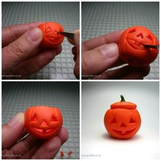 Quernus Crafts: How to make a miniature polymer clay carved hollow pumpkin