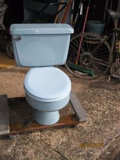 Retro Blue Toilet Eljer Water Closetl Matching Seat 1970s