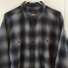 Patagonia Men's Large L Shirt Gray Plaid Organic Cotton Long Sleeve Button Front #Patagonia #ButtonFront