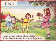 """JUNE - The Bumper Book; """"A bumper crop of good stories and poems to grow on"""" Illustrated by Eulalie Edited by Watty Piper 1946 Images Vintage, Vintage Cards, Vintage Postcards, Rhymes For Kids, Art For Kids, Children Rhymes, Material Didático, Month Flowers, Children Images"""