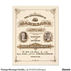 "Vintage Marriage Certificate Illustration Wedding 4.25"" X 5.5"" Invitation Card"