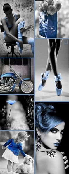 Blue Color Splash ღ Lu's Inspiration Beauty Photography, Street Photography, Fashion Photography, Color Trends, Color Combinations, Mood Colors, Colours, Color Collage, Beautiful Collage