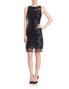 Brands | Cocktail & Party | Sequined Mesh Sheath Dress | Lord and Taylor