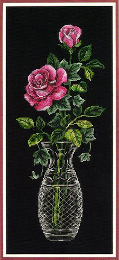DIMENSION'S Counted Cross Stitch Kit ' Roses in by Lilybeelane, $15.00 Counted Cross Stitch Patterns, Cross Stitch Designs, Cross Stitch Embroidery, Cross Stitch Rose, Cross Stitch Flowers, Dimensions Cross Stitch, Seed Bead Patterns, Embroidery Kits, Pixel Art