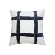 Grid 22x22 Linen Pillow White/Navy Decorative Pillows ($220) ❤ liked on Polyvore featuring home, home decor, throw pillows, dark blue throw pillows, navy blue home accessories, navy toss pillows, navy blue throw pillows and white home decor