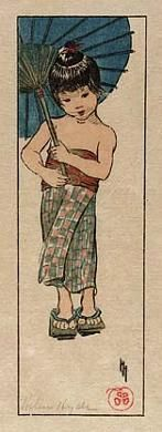 A Summer Girl, 1905, Helen Hyde, color woodcut on paper, 7 1/4 x 2 3/8 in. (18.5 x 6.0 cm), Smithsonian American Art Museum, Gift of Hyde Gillette in memory of Mabel Hyde Gillette and Edwin Fraser Gillette
