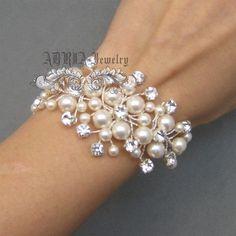 Wedding Bracelet, Ivory Pearl Bridal Cuff Bracelet, Bridal Jewelry,  Crystals Rhinestone Filigree Bride Bridesmaid Wedding bracelet jewelry