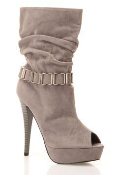 Grey Booties with cute, metal detailing