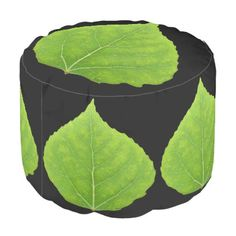 Green Aspen Leaf #11 Pouf - spring gifts beautiful diy spring time new year