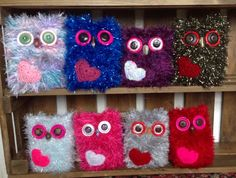 These love heart owls would make the perfect gift for Valentines Day or Mothers Day. Each owl is knitted with eyelash wool, then finished with button eyes, bead beak and a crochet heart; giving them all their individual expression. Each owl measures 4-5 tall and approx. 4 wide.  PLEASE NOTE: These are decorative ornaments. for teenagers and adults, not toys. They are therefore not suitable for younger children due to small parts posing a choking hazard. Surface clean only, using a damp…