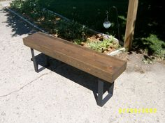 "industrial and steel  bench coffee table entry way steel legs narrow bench 48"" $190."