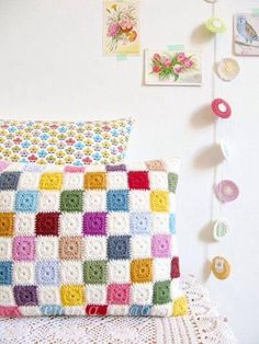 Luella, multi colored geometric patchwork crochet cushion cover, granny chic home decor - READY TO SHIP, by Emma Lamb. via Etsy. Love Crochet, Crochet Motif, Beautiful Crochet, Diy Crochet, Crochet Crafts, Crochet Projects, Crochet Patterns, Crochet Cushion Cover, Crochet Cushions