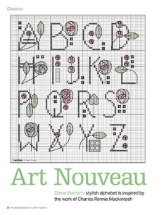 Cross Stitch Collection – September 2014 The Ultimate Alphabets. CrossStitcher 220 Art Nouveau Roses