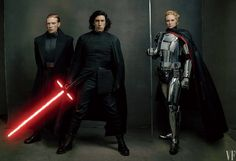 The Dark Side First Order leaders General Hux, Kylo Ren, and Captain Phasma, played by Domhnall Gleeson, Adam Driver, and Gwendoline Christie.