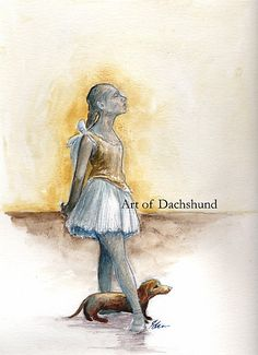 Art of Dachshund - Ballerina and Dachshund by dvampyrelestat