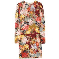 Dolce & Gabbana Photo Print Silk Shift Dress featuring polyvore women's fashion clothing dresses vestidos d&g платья stampa victorian dresses vintage dresses vintage silk dress floral shift dress vintage victorian dresses