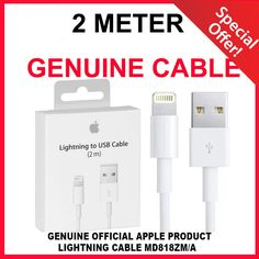 Extra long 1 x 2m genuine apple #lightning #charger cable #iphone 5 c s se 6 s ip,  View more on the LINK: http://www.zeppy.io/product/gb/2/272485576429/
