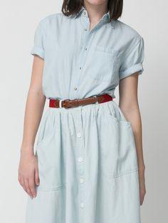 Button Up Long Denim Skirt   American Apparel